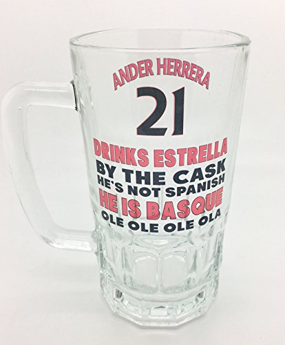 Ander Herrera, United, Terrace Songs, Comical, Funny Pint Glass, Beer Stein, Pint Glass, Herrerra Pint Glass, Herrera Beer Stein