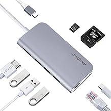 Adaptador USB C Hub Con HDMI 4K ,Gigabit Ethernet, 3 Puertos USB 3.0, Lector de Tarjetas SD/TF, Power Delivery PD 49W Adaptador Tipo C Multipuerto para Macbook Pro, ChomeBook Pixel, HP Spectre x360 (Gris Espacial)