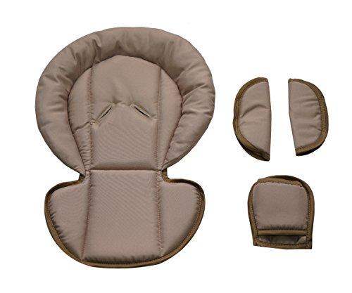 Sitzverkleinerer mit Gurtpolster | Universal-Set mit Kopfschutz & Sitzverkleinerer & Gurtpolster für jede Babyschale | atmungsaktiv & waschbar | Schonbezug 100% Baumwolle, Design:füchse (Beige)