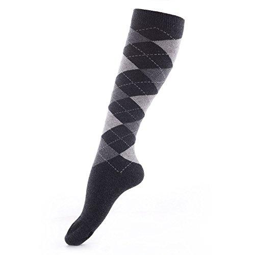 LaulaxDamen Kniestrümpfe Schwarz Schwarz (Socken Argyle Fashion)