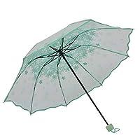 LYJZH Windproof Umbrella | Elegant & Simple Compact for Travel | Foldable | Flower transparent folding umbrella colour3 91cm
