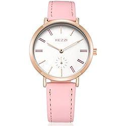 Fashion Leather Strap Quartz Women Girl Wrist Watch,Pink