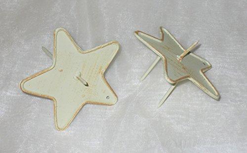 Kerzenhalter 'Stern' aus Metall creme 2er-Set
