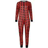 Chettova Men Family Lattice Jumpsuit Ropa de Dormir Casual Botón Ropa de Dormir Romper