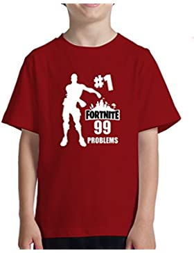 Acokaia Camiseta niño Fortnite 99 Problems - Color Rojo