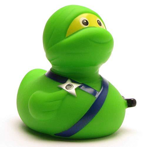 Duckshop I Badeente I Quietscheente I Ninja Ente grün PO I L: 7,5 cm 7.5 Gummi
