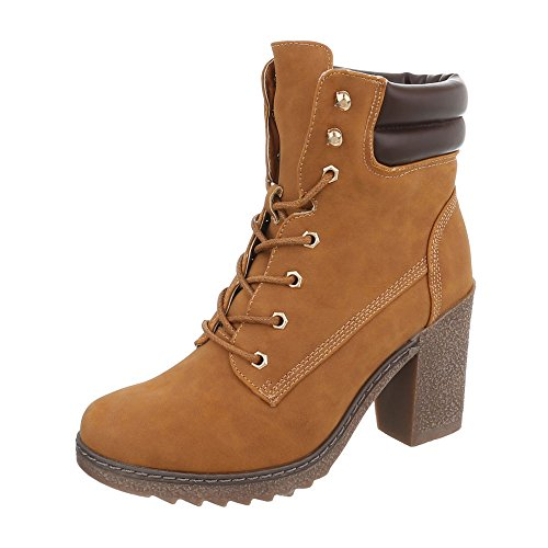 Ital-Design Schnürstiefeletten Damen-Schuhe Schnürstiefeletten Pump Schnürer Schnürsenkel Stiefeletten Camel, Gr 39, A-55-