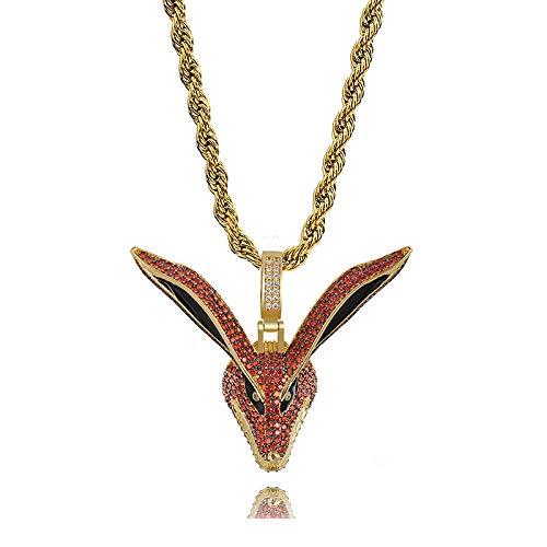 Hip Hop Gold Naruto Fox Anhänger Halskette Micro Pave Zirkon Iced Out Tier Schmuck Mann Frauen Geschenk