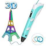 Tintec 3D Stift, 3D Druckstift 3D Pen mit LED-Bildschirm 3 Stücke 1.75mm PLA/ABS Filament in zufälliger Farbe insgesamt 5m für Kinder Jahr 2019 Geschenke