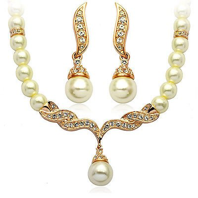 Wedding Bridal Jewellery Set Priness Design Gold & White Pearl Necklace Choker & Studs Drop Earrings S113YG