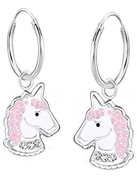GH1a Kristall Glitzer Einhorn Creolen 925 Echt Silber Ohrringe Ohrhänger Kinder Pferd