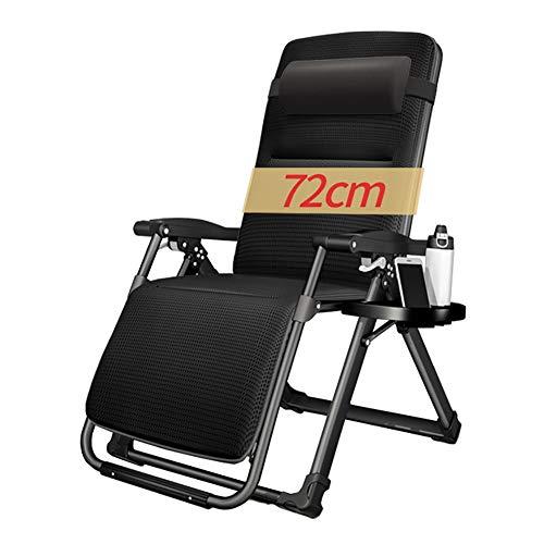Liegestühle Oversize Recliner mit Kopf- und Lordosenstütze, Indoor Outdoor Cup Holder Lounge Patio Chairs (Color : Black)