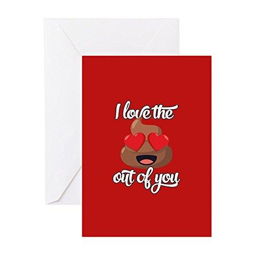 CafePress Emoji Love The Poop Out of You Grußkarte, Notizkarte, Geburtstagskarte, blanko Innenseite matt