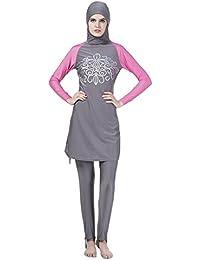 Meijunter Muslim islamisch Frauen Sommer 2-Stück Bescheiden Voller Deckel Befestigt Kappe Burkini Badeanzug Middle East Araber Hijab Bademode Malaysia Sun Protection Bathing Suit Beachwear