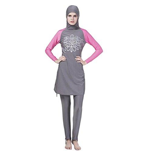 Meijunter Muslim islamisch Frauen 2-Stück Bescheiden Voller Deckel Befestigt Kappe Burkini Badeanzug Middle East Araber Hijab Bademode Malaysia Bathing Suit (Farbe:Grau,Größe:XL)