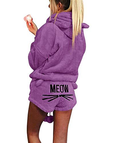 ZiXing Damen Warmer Winter Gesetzte Zweiteilige Nette Katzen Pyjamas Hoodie Nachtwäsche mit Kapuze Hosenanzug Schlafanzug Jumpsuit Lila S