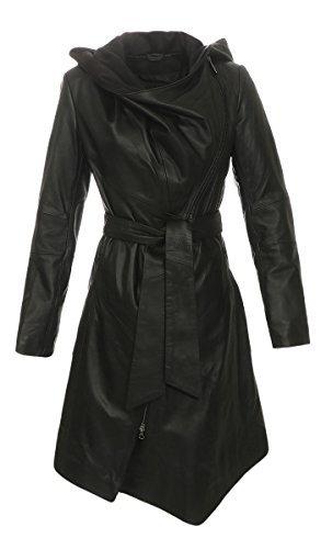 Hollert Ledermantel - EWA-BIS Damen Mantel Echtleder Größe L, Farbe Schwarz