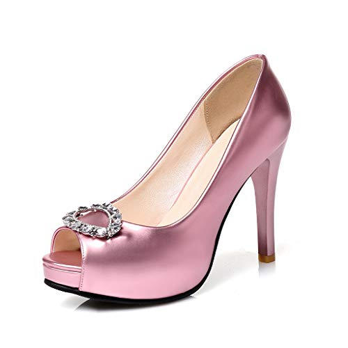 Henxizucun Damen Damen Peep Toe Bögen Strass High Heels Plateau Pumps Satin Hochzeit Pumps,Rosegold,36 Detail Peep Toe Pumps