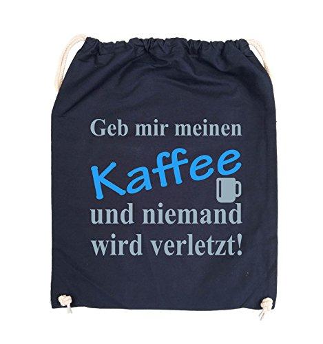 Comedy Bags - Geb mir meinen Kaffee und niemand wird verletzt! - Turnbeutel - 37x46cm - Farbe: Schwarz / Weiss-Neongrün Navy / Eisblau-Hellblau