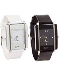 Shoppingmazz New Trendy Look Set Of Formal White And Black Square Dial Girl's Analog Watch - For WoMen