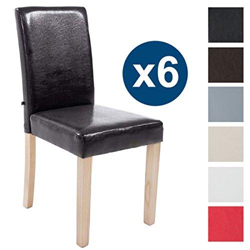 CLP 6X Esszimmerstuhl INA mit Holzgestell und Kunstlederbezug I 6X Lehnstuhl mit Einer Sitzhöhe von 47 cm I erhältlich Braun