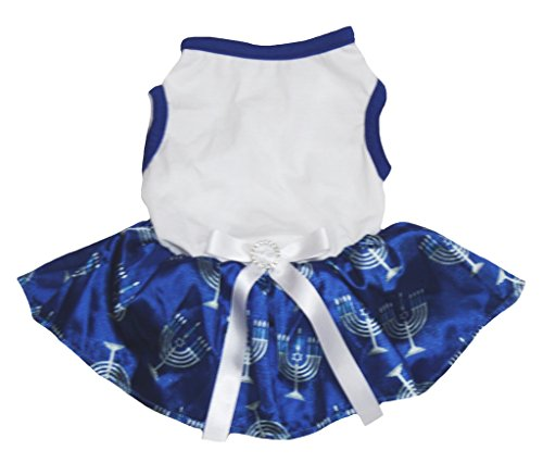 Petitebelle Hanukkah Dog Dress Plain White Cotton Candlestick Blue Tutu (Chanukka Kostüme)