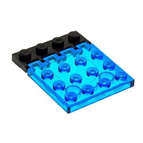 1 x Lego System Bau Platte Transparent dunkel blau 4x4 Klappe mit Scharnier schwarz Auto Dach Classic Space Set 6171 4315 4213 (Auto-scharniere)