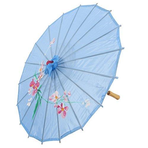 DealMux Partei Tanzen im chinesischen Stil Kunststoff Holz Rippen Blume Blatt drucken Sky Blue Nylon-Abdeckung Tragbare Mini-Sonnenschirm-Regenschirm