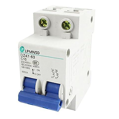 DZ47-63 35mm DIN Rail Mounting 2-Pole Circuit Breaker AC 230V