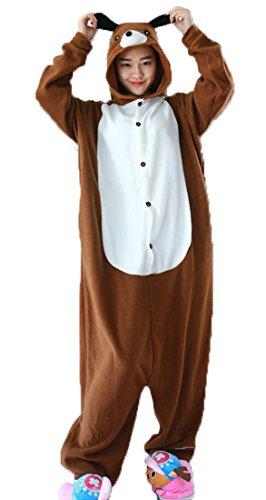 Honeystore Unisex Hund Kostüm Erwachsene Tier Jumpsuits Onesie Pyjamas Nachthemd Nachtwäsche Cosplay Overall Hausanzug Fastnachtskostüm Karnevalskostüme Faschingskostüm Kapuzenkostüm (Star Hunde Kostüme Für Trek)