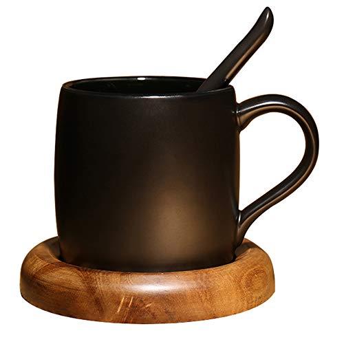 XOSHX 420Ml European Scrub Kaffeetasse Mit Löffel Kreative Einfache Tasse Mit Holzmatte Hochwertige Schwarze Keramik Tasse (Scrub Krankenschwester Frauen)