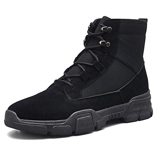 LIUYL Herren Military Army Tactical Boots Schnürstiefel Martin-Stiefel High-Top-Schuhe Reitstiefel Outdoor-Schuhe Wanderschuhe,Black-40 -
