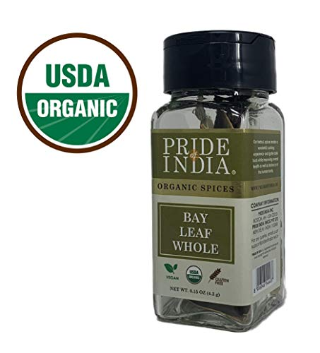 Pride Of India - Organic Bay Leaf Whole, 0.15 oz (4.3 gm - About 5 Leaves) Dual Sifter Jar - Premium Quality Whole Leaves - Buy 1 GET 1 Free (Mix and Match - Promo APPLIES at Checkout) Green Relish Dish