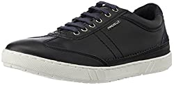 Provogue Mens Black and Blue Leather Sneakers - 6 UK/India (40 EU) (7 US)