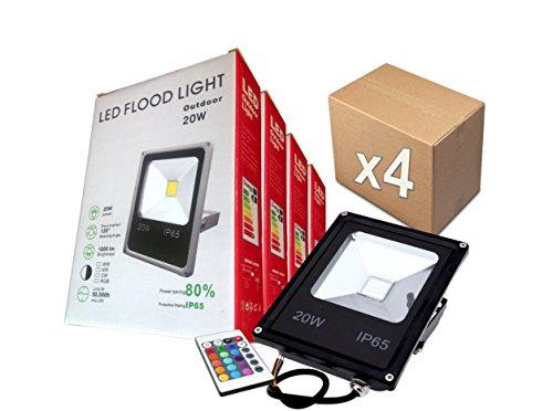 PACK 4 FOCOS PROYECTORES LED RGB 20W con Mando Remoto - Exclusivos...