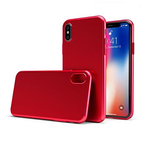 Coverstyle® custodia ultrasoft® sottile 1.0mm rigida con effetto opaco soft-touch per iphone x - rosso opaco