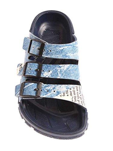 Birki's Zanzibar Mule Sandales Chaussons Classic étroit multicolore Jeans Neuf Bleu