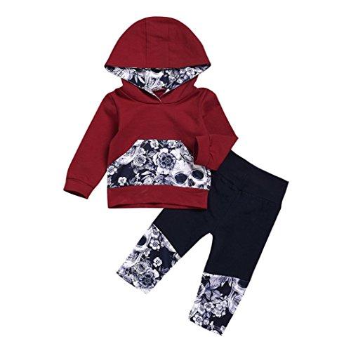 Amlaiworld Sudaderas con capucha de bebé niño niña + Pantalones Conjunto de ropa (Tamaño:12-18Mes, Vino)