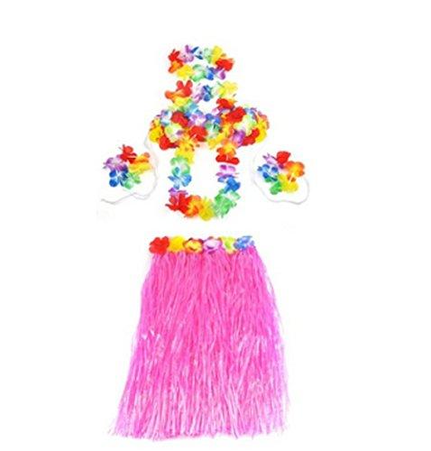 Preisvergleich Produktbild Outdoortips Kostüm,  Hawaii-Design,  Bast-Rock,  Blumenkette,  5-teilig,  YL16624