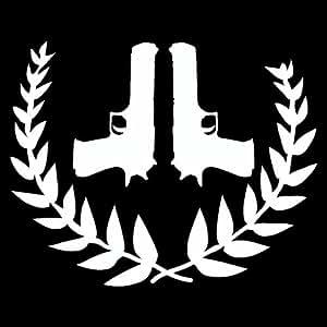 Wandtattoo Pistolen mit Lorbeerkranz Wandaufkleber in 5 Größen und 25 Farben (30x24cm weiß)