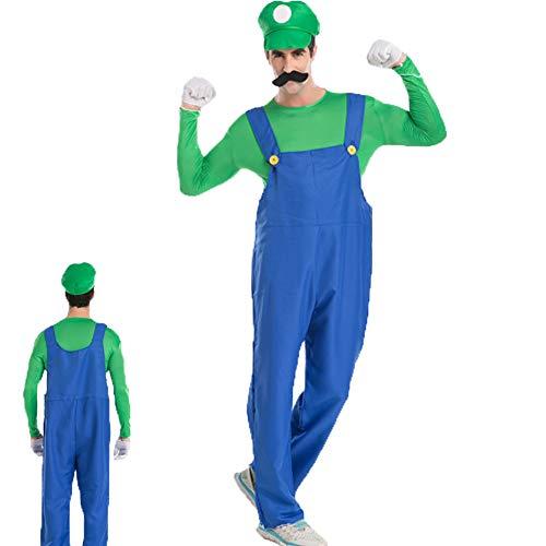 Kostüm Green Mann Für Erwachsene - NNLX Super-Kostüm-Erwachsen-Kostüm Brüder Halloween Kostüm Männer Erwachsene verkleiden Partei-Kostüm-Grün M, L, XL-green-L