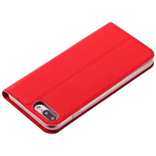 EKINHUI Case Cover Solid Color Uni Texture PU Ledertasche Magnetische Verschluss Stil Stand Case Cover mit Kartensteckplatz für iPhone 7 Plus ( Color : Black ) Red