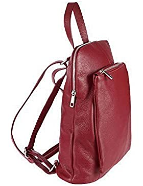 OBC Made in Italy Damen echt Leder Rucksack Daypack Lederrucksack Tasche Schultertasche Ledertasche Handgepäck...