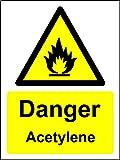 Gefahr Acetylen Schild–1,2mm starrer Kunststoff 200mm x 150mm