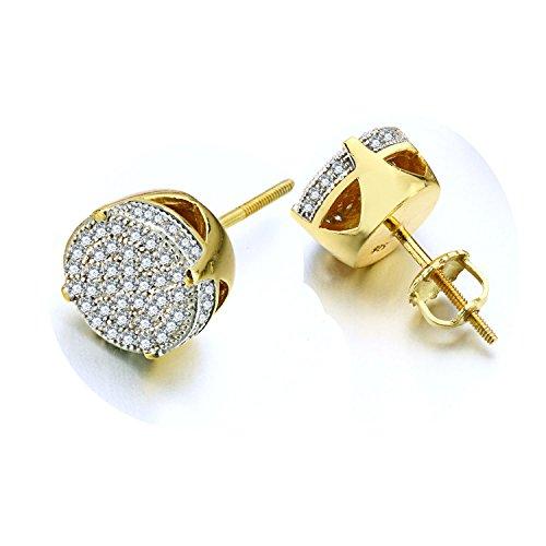 d Sterling Silber Ohrringe Flash eingelegten Zirkonia vergoldet 7mm to Man Mutter 's Wife 's Friend Ohrhänger/New Geschenk Box (Frau Flash Kostüme)