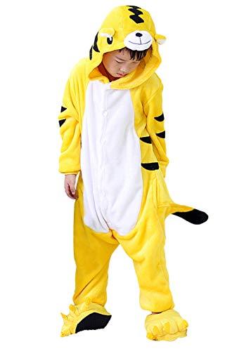 DATO Kinder Pyjamas Tier Gelb Tiger Overall Flanell Cosplay Kostüm Kigurumi Jumpsuit für Mädchen und Jungen Hohe 90-148 - Kind Tiger Pyjama Kostüm