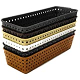 CSM Baskets Multipurpose Storage Basket Combo of 6 Small Size (Dimensions = 22.5 cm x 7 cm x 4.5 cm)