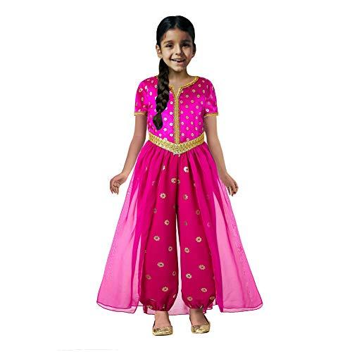 Pettigirl Mädchen Rosa Prinzessin Jasmin Kostüm für Kinder (Kinder Keine Kosten-halloween-kostüme Für)