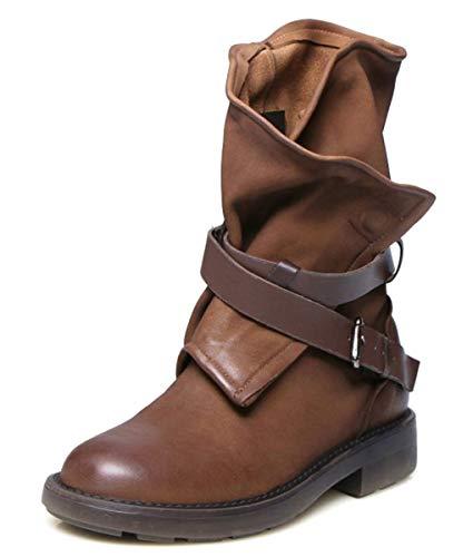 Minetom scarpe da donna stivali stivaletti biker fibbie marrone 38 eu
