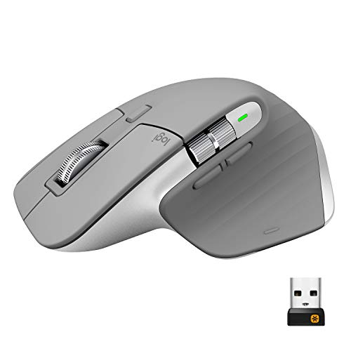 Logitech, MX Master 3, Fortschrittliche Kabellose Maus, Ultraschnelles Scrollen, für jede Oberfläche, USB-C, Bluetooth, USB, Linux - Mid Grau